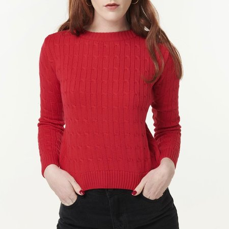 McIntyre Maria Cropped Cable Knit Sweater - Red