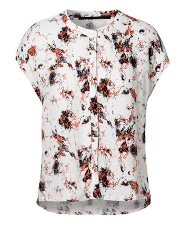 """Just Female """"New Marble"""" Short Sleeve Printed Blouse"""