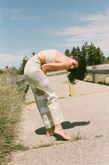 Eckhaus Latta Wide Leg Jean - Yellow Plaid