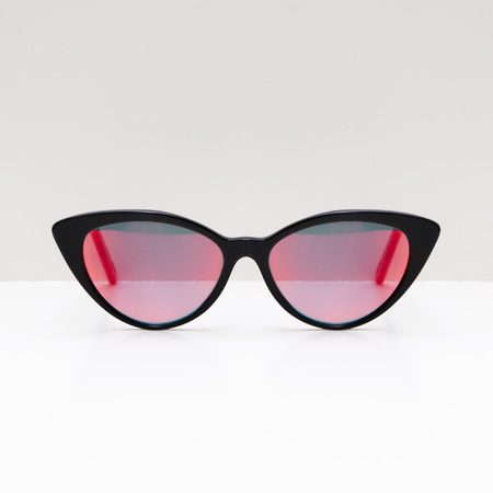Prism Accra Bio Acetate Sunglasses - Black/Red Lens