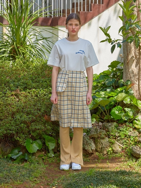 Locle By Low Classic Pocket Wrap Skirt - Yellow Check