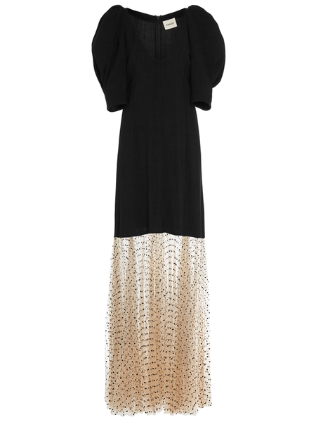 KHAITE Dorothy Dress w/ Tulle Flare Hem - BLACK