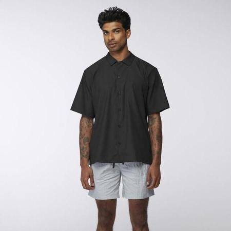 Everest Isles Cotton Pique Lounge Shirt - Black
