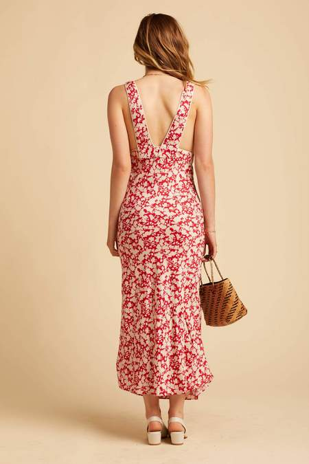 Free People Red Ohh La La Midi Dress - print