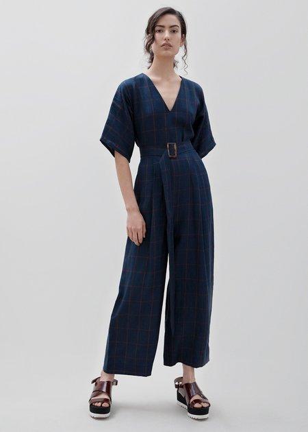 Milk & Thistle Kimono Jumpsuit - Navy/orange Check
