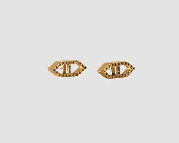 Lacar Gold and Black diamond Helm Earrings
