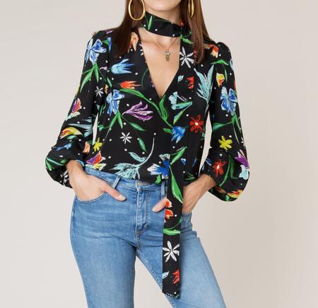 Rixo tulip v neck tie blouse - black
