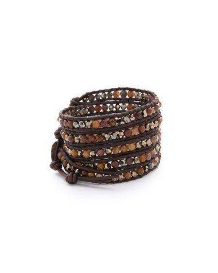 Chan Luu pietrsite mix and swarovski crystal wrap bracelet