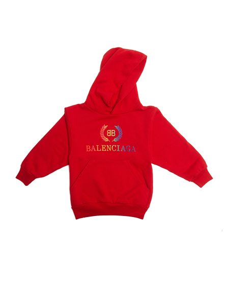 KIDS Balenciaga Embroidered Hoodie - RED