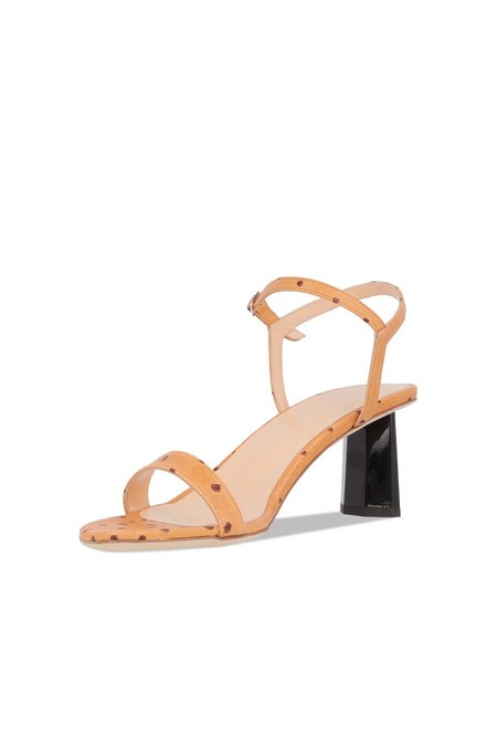 BY FAR Embossed Leather Magnolia Sandal - Nude Ostrich