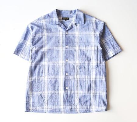 A VONTADE S/S Lax Open Shirt - Gingham Blue