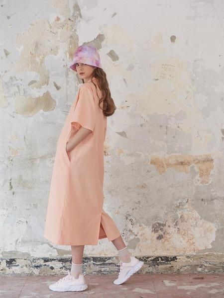 METAPHER Pocket Detail Long Dress - Coral