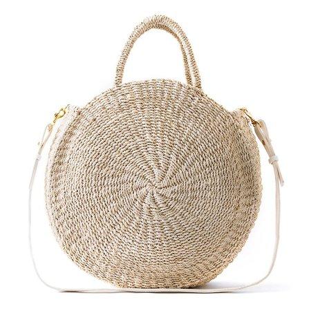 Alice Black Woven Handbag - Natural