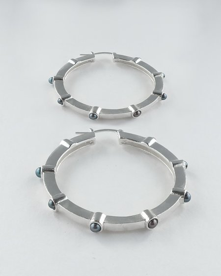 Lacar Large Pearl Hoops - Silver