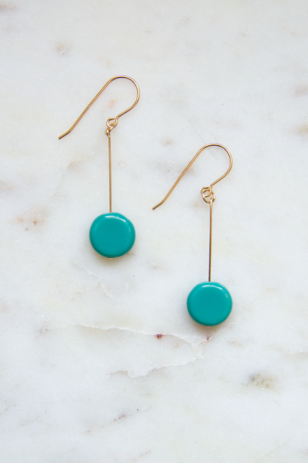 I. Ronni Kappos Glass Bead Circle Drop Earrings - 14 K Gold/Turquoise