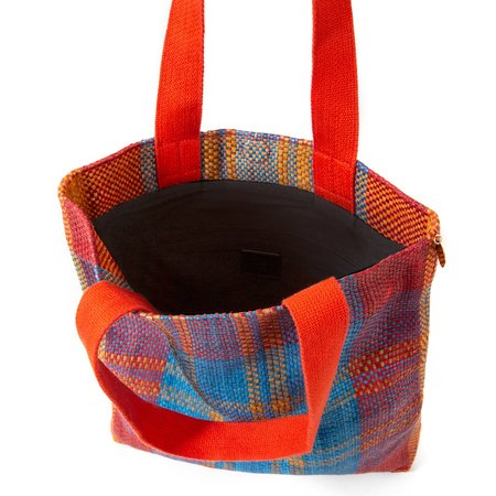Clare V. Carryall Tote - Poppy/Turquoise Plaid