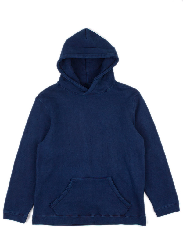Men's Blue Blue Japan Indigo Hand Dyed Loop Wheel Knitted Pullover Parka