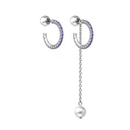 Joomi Lim Mini Crystal Hoop Earrings W/ Pearl Backs & Removable Chain - Rhodium/Purple/White