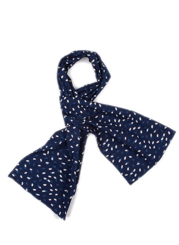 "Unisex Blue Blue Japan Woven Indigo ""Bassen"" Sector Dot Print Cotton Stole"