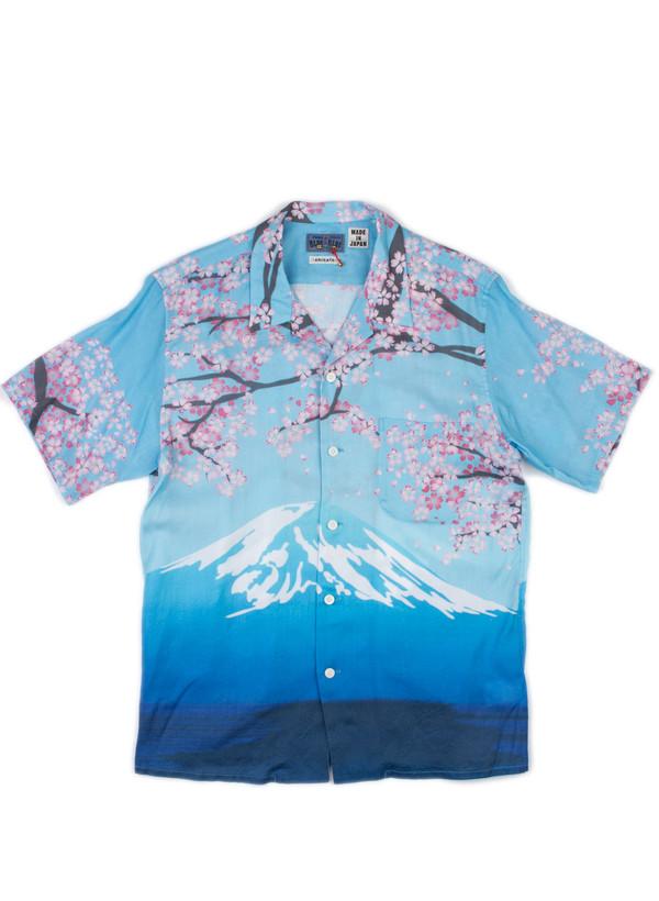 Men's Blue Blue Japan Woven Mt. Fuji - Sakura Blooming SS Shirt