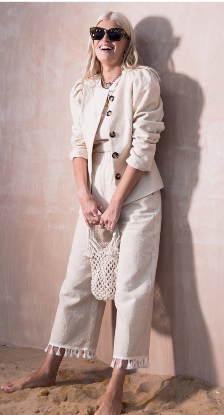 Never Fully Dressed Panama Jacket - Beige Linen