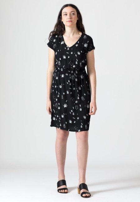 North Of West Seagrasses Deep V Dress - Black
