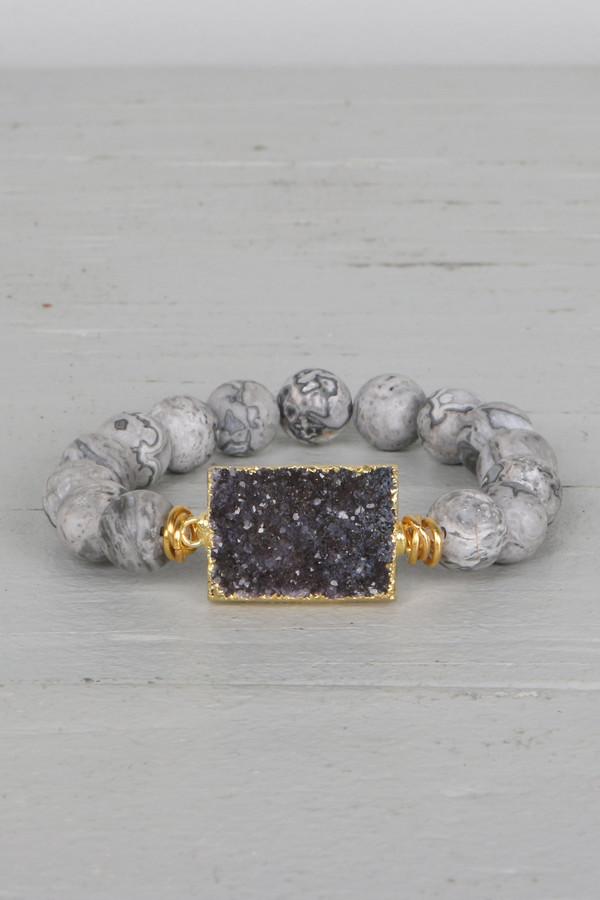 Mickey Lynn ML7034 Silver Leaf Jasper Bead Bracelet