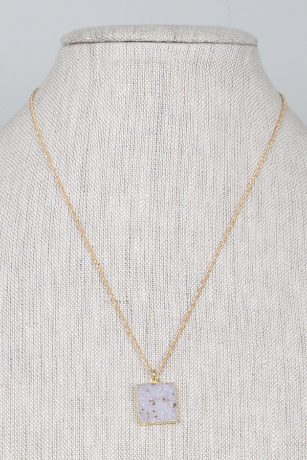 Mickey Lynn ML7428 Square Druzy Gold Chain Nk