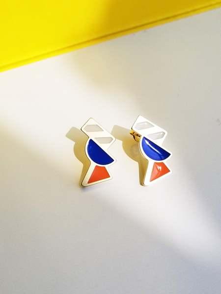 Matter Matters Tilt Earrings - Orange/Blue