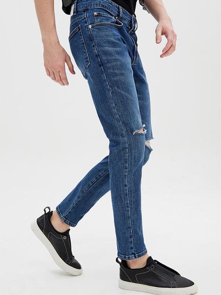 SYSTEM HOMME Damage Skinny Fit Denim Pants  - Blue