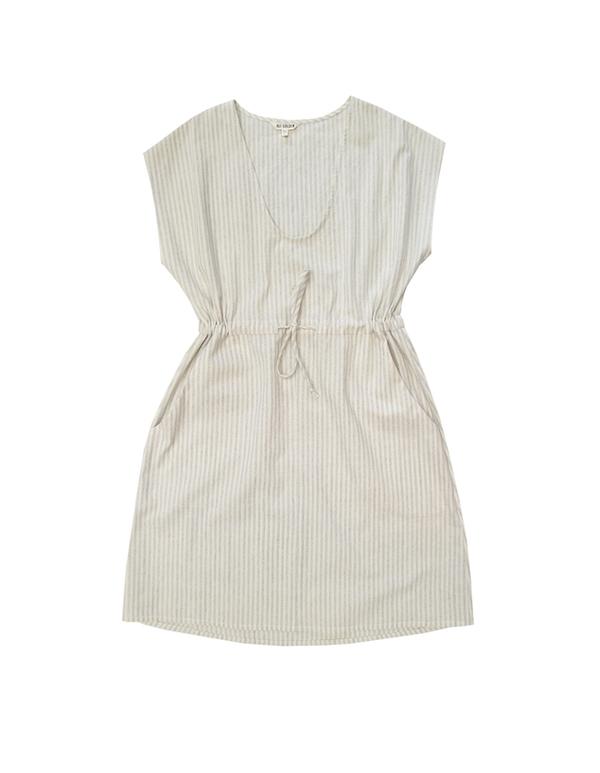 Ali Golden Cream Stripe Drawstring Dress