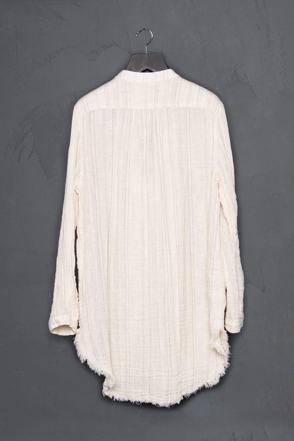 Raquel Allegra Striped Raw Henley Shirt