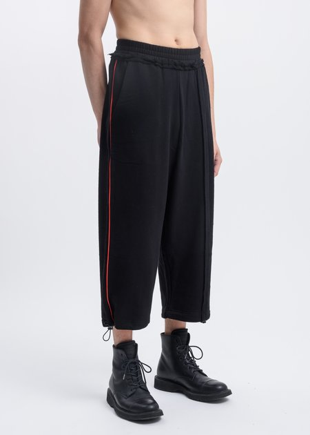 Faineant Wide Leg Pants with Red Piping - Black