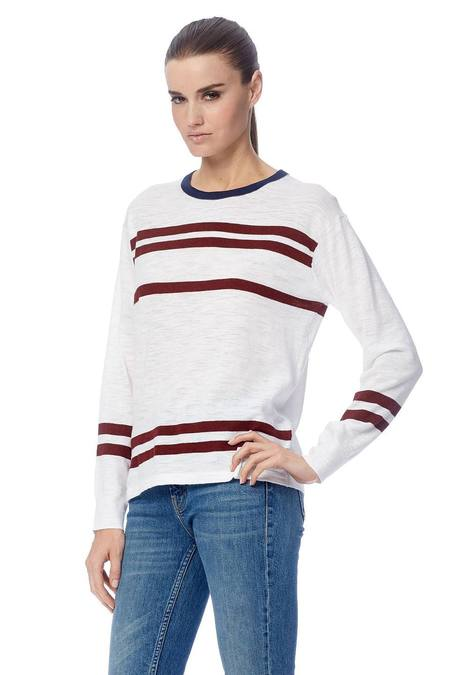 360 Cashmere Andrea Sweater - White/Red Pear Stripes