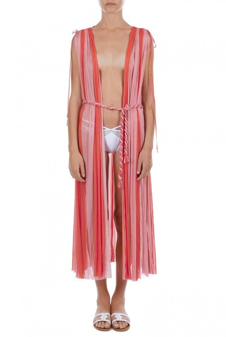 Elena Makri Ceasar crinkled silk-tulle midi cover up - Coral/pink