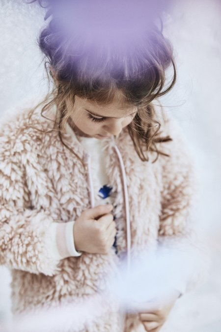 Kids Noe & Zoe Furry Bomber - Blush