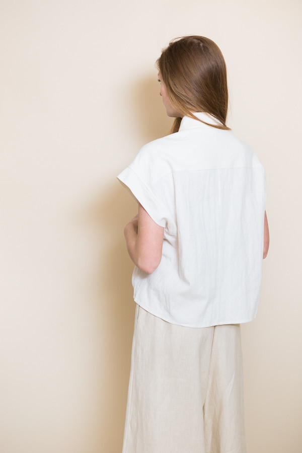Micaela Greg Pieced Sleeve Button Up / White