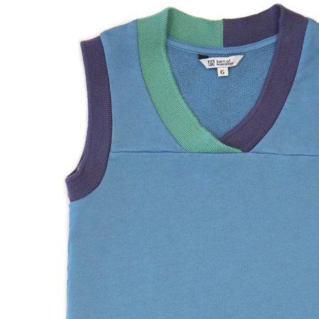 kids barn of monkeys tank top with contrast neckline - blue