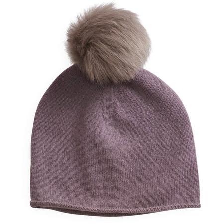 KIDS belle enfant pompom hat rabbit fur trim - mauve