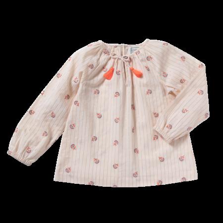 kids bonheur du jour pompon blouse - rainbow flower