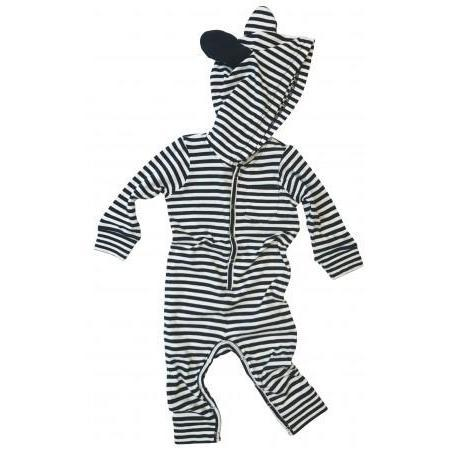 Kids Unisex goat - milk Baby Union Suit with ears - Black/White Stripe