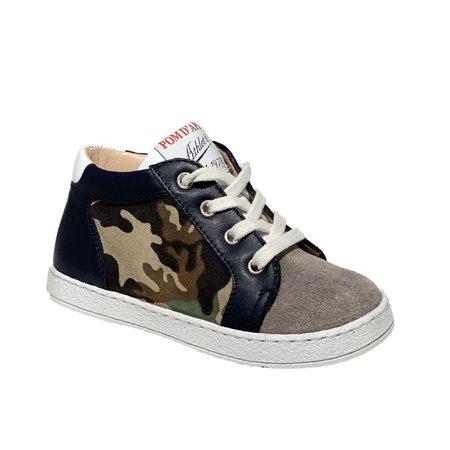 kids pom d'api mousse zip print sneaker - army multi