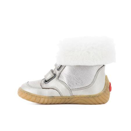 kids pom d'api fur lined boots - silver