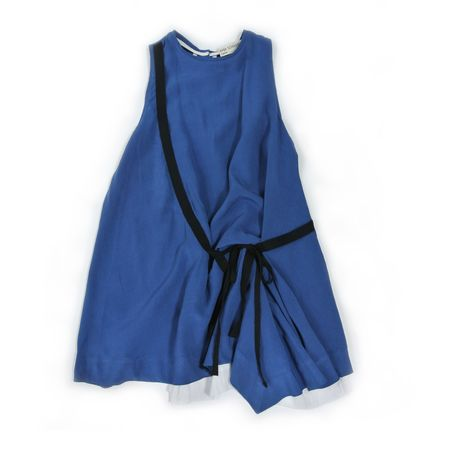 Kids Treehouse Alara Hope Sleeveless Asymmetric Dress - Blue