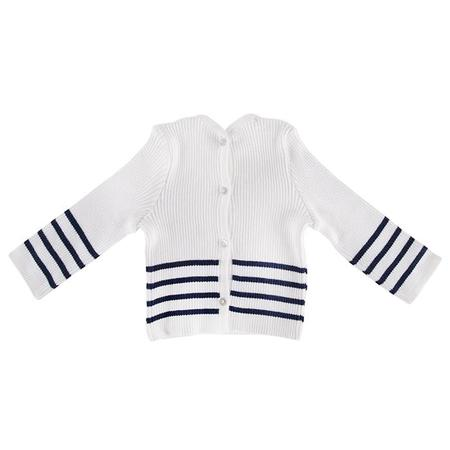 Kids Pequeno Tocon Baby Sweater - Cream/Navy Blue Stripes