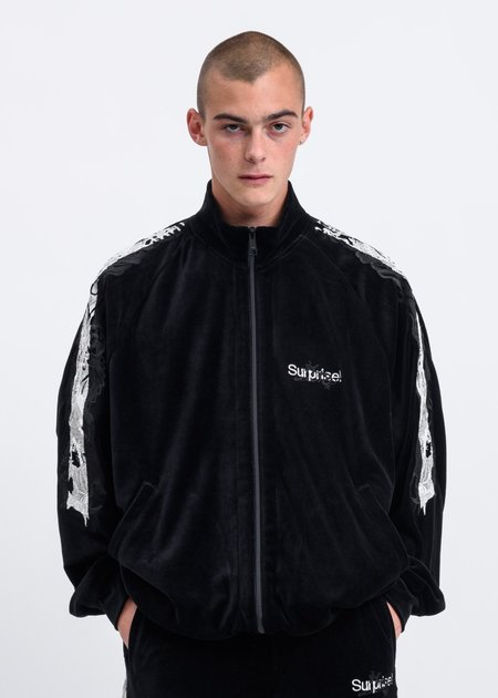 Doublet Lined Chaos Embroidery Track Jacket - Black
