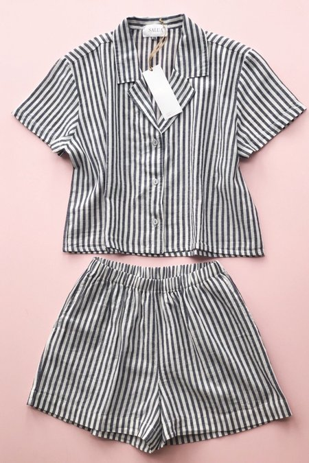 Salua Atelier Lingerie Cropped Button Down & High Waisted Striped Shorties