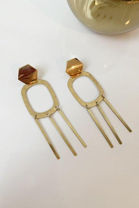 Christina Nicole Jewelry & Home Hex Dangle Posts - Brass