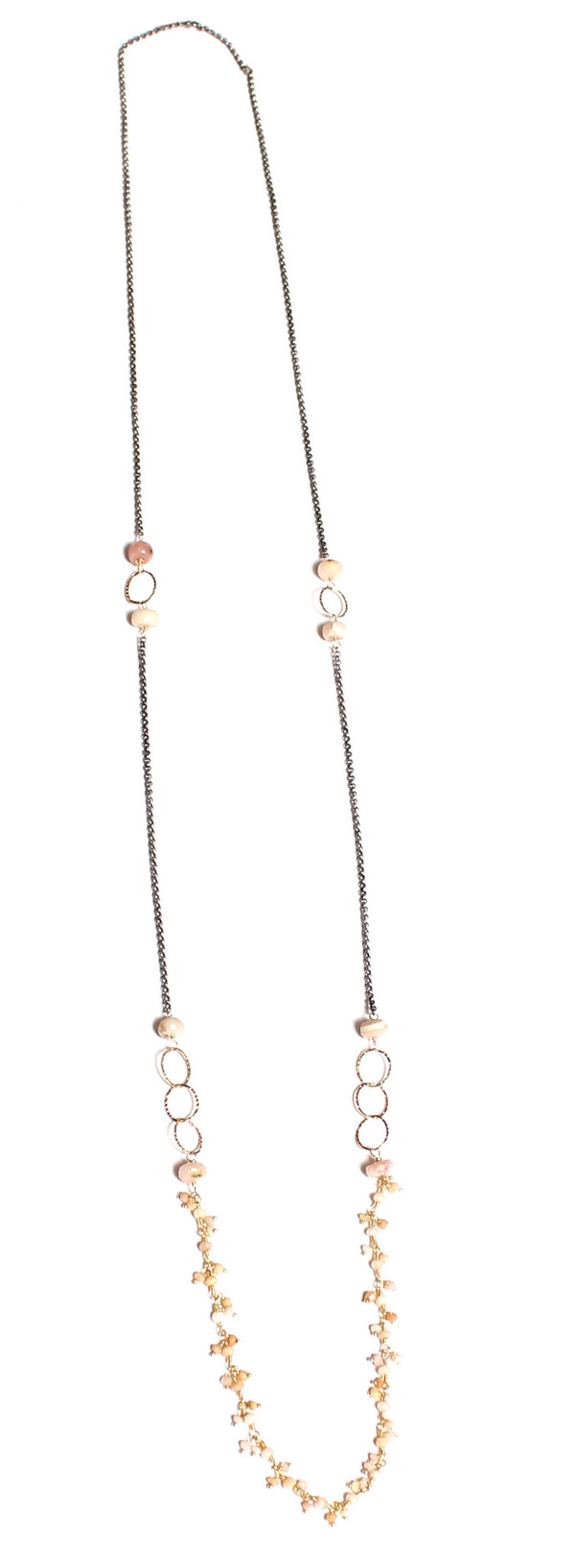 James and Jezebelle Pink Opal with Oxidized Chain Necklace