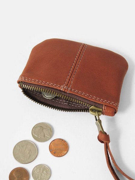 Erica Tanov leather coin purse - whiskey